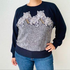 Vintage Sicari Silks Animal Print Sweater Size L